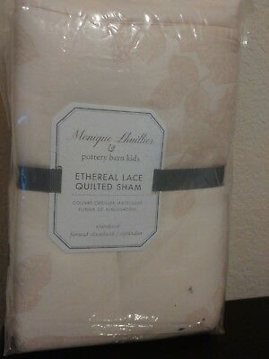 Pottery Barn Kids Monique Lhuillier Ethereal Lace Standard Sham Blush NWT