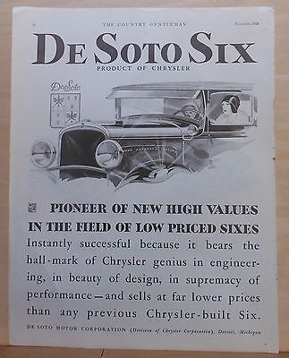 1928 magazine ad for DeSoto - Pioneer of High Values in field of low price Sixes