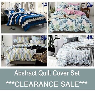 Red Grey Aqua Teal Pink Purple Quilt Cover Black White striped Doona Cover Set