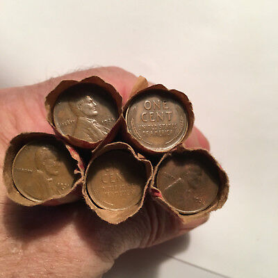 ( 5 ) Rolls ~ Wheat Pennies & Indian Head Pennies - Key Dates on Ends Free Ship