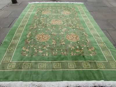 Old Hand Made Art Deco Chinese Carpet Green Wool Large Carpet 342x249cm