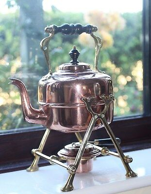 Antique Copper Spirit Kettle with Brass Stand and Copper Burner