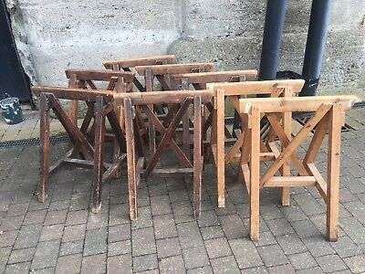 4 Pair Rustic Wooden Trestles Table Base Legs industrial Carpenter Painter