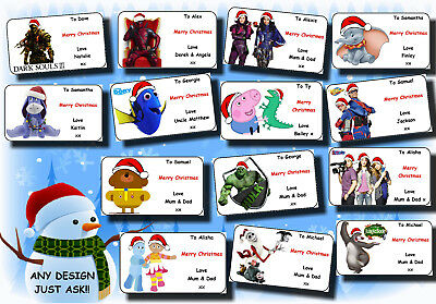 21 / 16 personalised CHRISTMAS gift labels stickers tag xmas ANY NAME MESSAGE 17