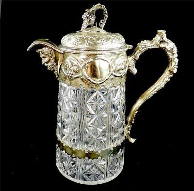 Good Quality Antique Silver Plate & Cut Glass Claret Jug Pitcher Bacchus
