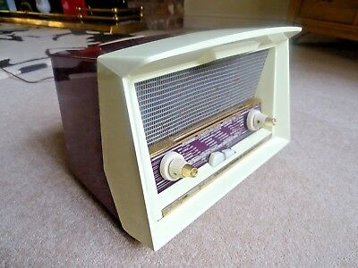 Funky Vintage 1958 burgundy Philips  Valve Radio Working But Needs Attention