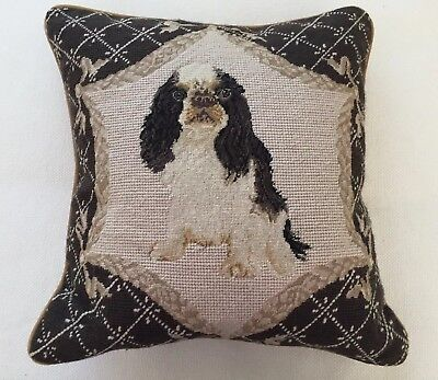 "King Charles Spaniel Needlepoint Pillow 15"" x 15"" (1 of 2 Listed)"