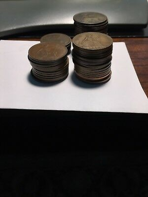 Great Britain Large Pennies Huge Collection of 56 Different 1861-1967 GOOD to AU