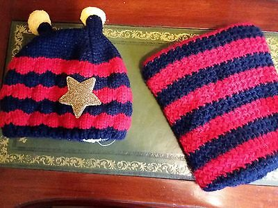 Babys Scarf And Hat Set Red And Blue Striped Knitted Never Worn Vgc
