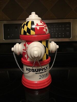 Hd Supply Fire Hydrant Cookie Jar With Maryland Flag Design (Rare)
