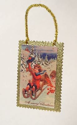 Old Fashioned Victorian Style Postcard Child On Sled Christmas Ornament New