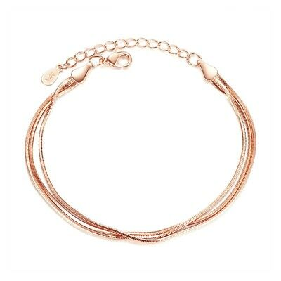 Women Men Silver Plated Three Layers Bracelet Chain Silver/Rose Gold Jewelry Hot