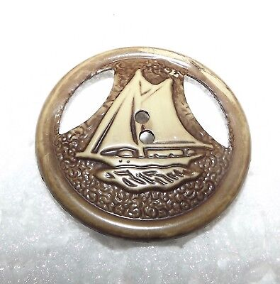 Large One Piece 30 Sailboat Celluloid Button #5101