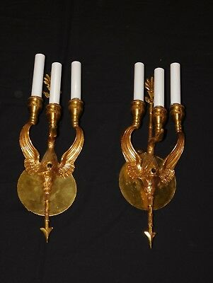 ANTIQUE Pair French Brass SWAN w Outswept Wings 2 Lite Empire Figural Sconces