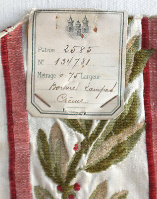 Antique sample chenille embroidered silk satin border from France
