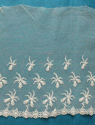 320 cms. antique  machine embroidered net lace border - projects