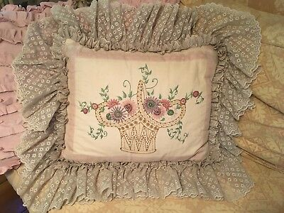 Antique Pillow Needle Work French Lace Floral Embroidery Design 1930s-1940s