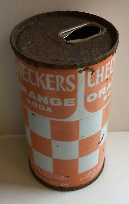 Checkers Orange Soda Pop Pull Tab Top Can Kentucky