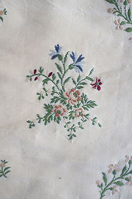 Antique fragment 18th century sprigged lampas silk from France