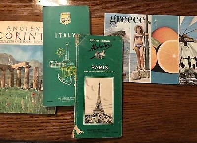 Vintage Travel Brochures Guides Maps Paris, Italy, Greece & Corinth
