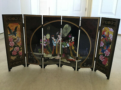 Outstanding Chinese Two-Sided Hand Painted Small Lacquer Folding Screen