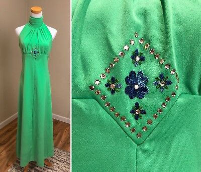 Vintage 60s 70s Kelly Green Sleeveless Maxi Dress Gown Embroidered Sparkly S/M