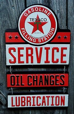 "TEXACO Embossed Metal Sign 15"" x 9""  Service Oil Changes Lubrication Gas Station"