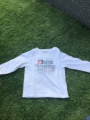 Baby boys long sleeve Timberland t shirt. white age 12months