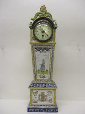 Antique Early 20th Century Faience Mantle Clock. Scrolled Top,Painted Decoration