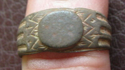 Ancient Artifact > Medieval Bronze Finger Ring SZ: 6 US 16.5 mm L27