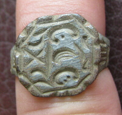 Ancient Artifact > Medieval Bronze Finger Ring SZ: 6 US 16.5 mm L28