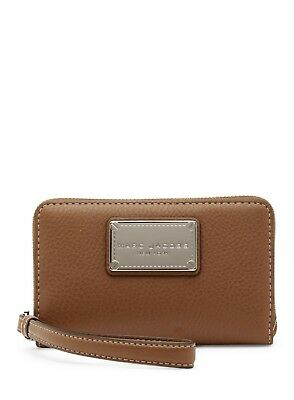 New Women's MARC JACOBS Classic Brown Saddle Leather Phone Wristlet Wallet Purse