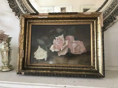 Beautiful Antique Circa 1800S Pastel Chalk Painting Of Pink And White Roses
