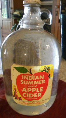 VINTAGE 1 Gallon Glass Jug with Handle Summer SWEET BRAND Apple Cider