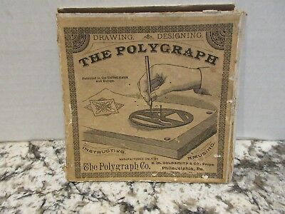 Antique 1886 Polygraph CO Philadelphia Drafting Drawing Designing Brass Template