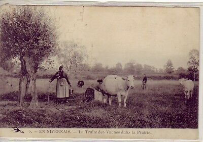 CPA 58 Bourgogne NIEVRE Nevers Clamecy Pouilly MARCIGNY Traite Vaches Laitières