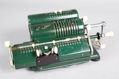 "Vintage ~ c1955 ~ ""Schubert CRV""  Mechanical Pinwheel Calculator with Cover"