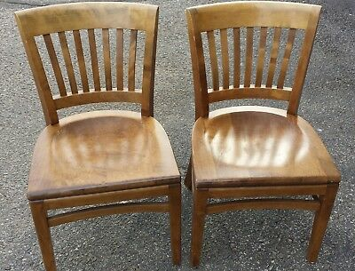 Antique Wooden Chairs >> 2 Vintage Antique Wood Wooden Gunlocke Office Chairs Button Label 12