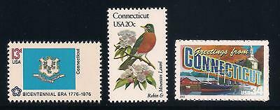Connecticut - State Flag, Bird, Flower - Set Of 3 U.s. Stamps - Mint Condition
