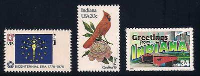 Indiana - State Flag, Bird, Flower - Set Of 3 U.s. Stamps - Mint Condition