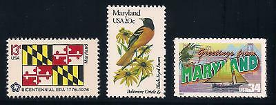 Maryland - State Flag, Bird, Flower - Set Of 3 U.s. Stamps - Mint Condition