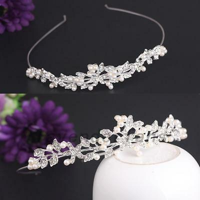 Rhinestone Flower Leaves Headband Hair Bands Bridal Bridesmaid Wedding Tiara AU