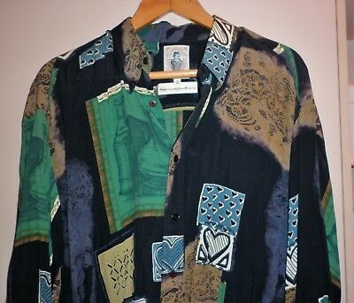 VINTAGE 80s FUNKY PRINT RAYON LS SHIRT SIZE L EXCELLENT CONDITION
