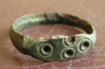 Ancient Artifact > Byzantine Bronze Finger Ring SZ: 7 1/2 US 17.75 mm L42