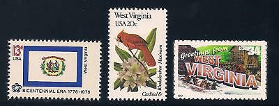West Virginia - State Flag, Bird, Flower - Set Of 3 U.s. Stamps - Mint Condition