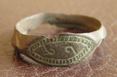 Ancient Artifact > Medieval Bronze Finger Ring SZ: 9 US 19 mm L53