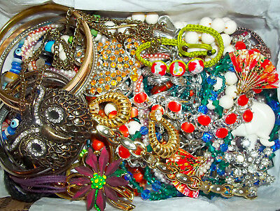 Huge LBS Vintage Now Jewelry Lot Unsearched Untested Junk Drawer Estate Find