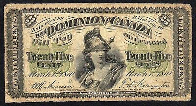 Dominion of Canada 25 Cents Shinplaster 1870 (Dickinson/Harington)