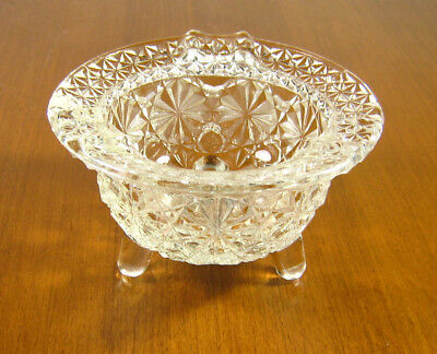 Vintage Fenton Footed Clear Glass Kettle Ashtray Daisy & Button Pattern