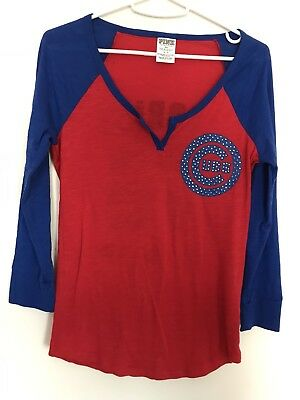 Womens Victorias Secret Pink Chicago Cubs Baseball Tee Small